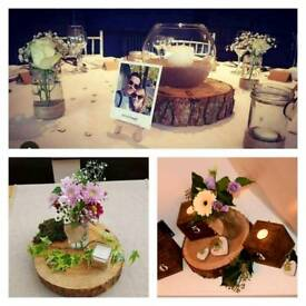 Rustic wooden log slice table centrepiece