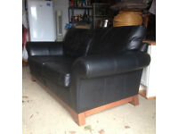 Leather sofa Black
