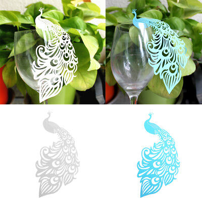 100 Place Cards Peacock Glass Wedding Baby Shower Table Decor (Peacock Wedding Glasses)