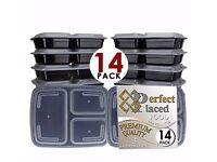 meal prep containers - stackable, freezable, 3 compartment (free to collect)