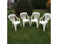 Set of Four Plastic Garden Chairs