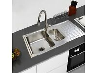 1.5 Bowl Stainless Steel Kitchen Sink with Drainer & Waste Inset Topmount RH Drainer - BRAND NEW