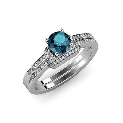 Blue and White Diamond Engagement Ring & Wedding Band 1.25 ct tw in 14K Gold - Blue And Gold Wedding