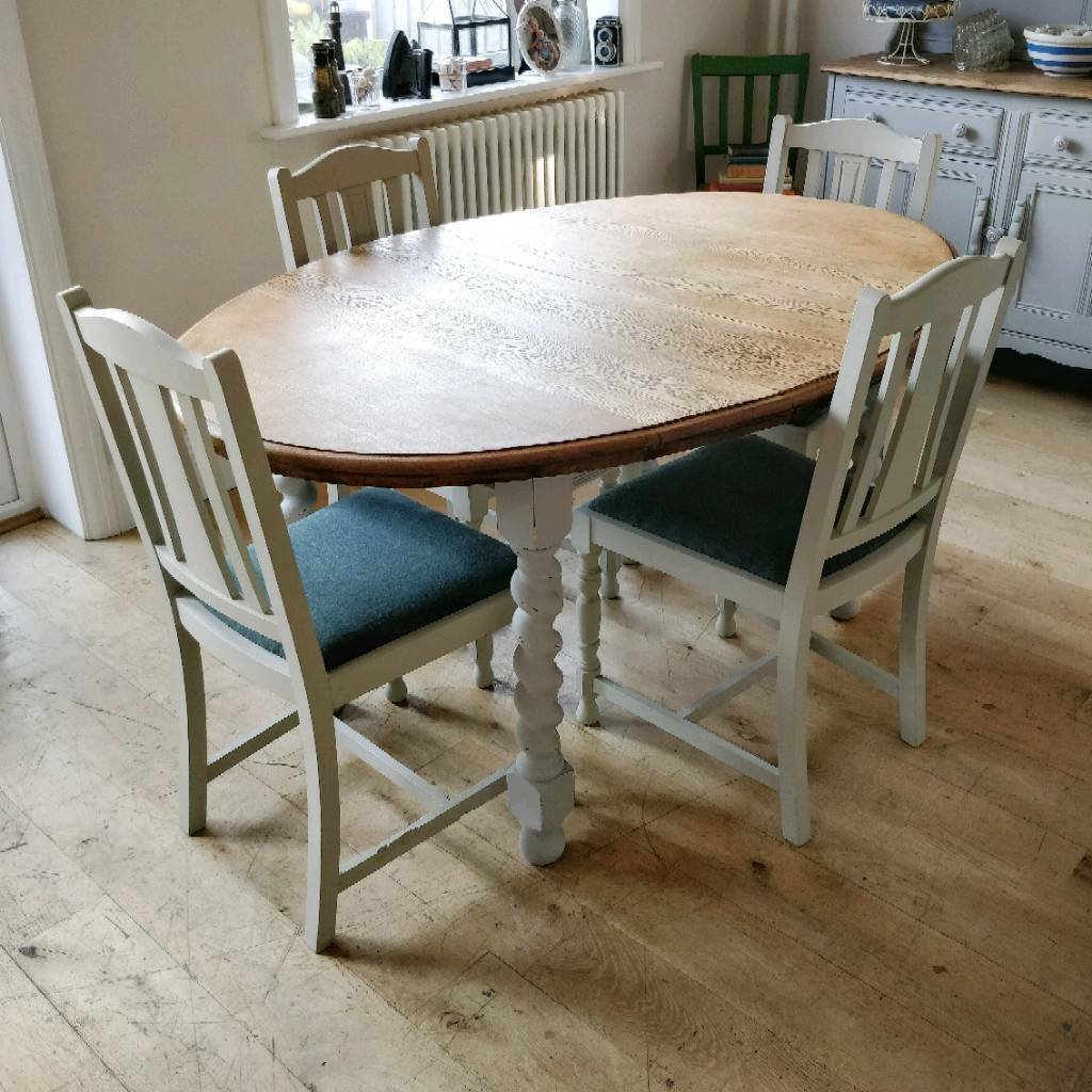 Solid Oak Vintage Barley Twist Extending Dining Table Kitchen Table