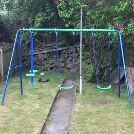 Good condition double swing and seasaw set!!