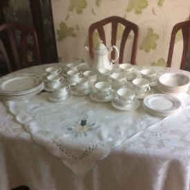 Mayfair bone china dinner service .6 plates,side plates , bowls , tea and coffee cups
