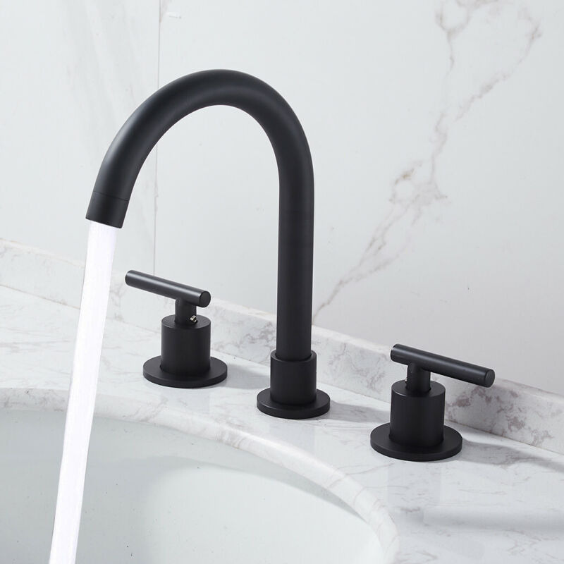 "8"" Black Cylinder Widespread Roman Bathroom Sink Faucet 2 Ha"