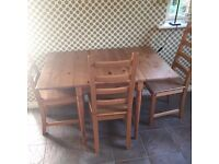 Ikea Table and 3 Chairs (extendable) Pine Effect