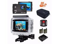 4K action camera + box + 2nd battery + stick