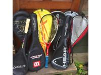 Assortment of Squash Rackets