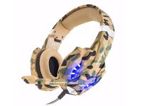 BNIB Gaming Headset for PS4 3.5mm PC LED Light Game Headphones Over-ear Headset with Microphone