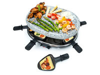 8 Person Raclette Natural Stone Grill Set