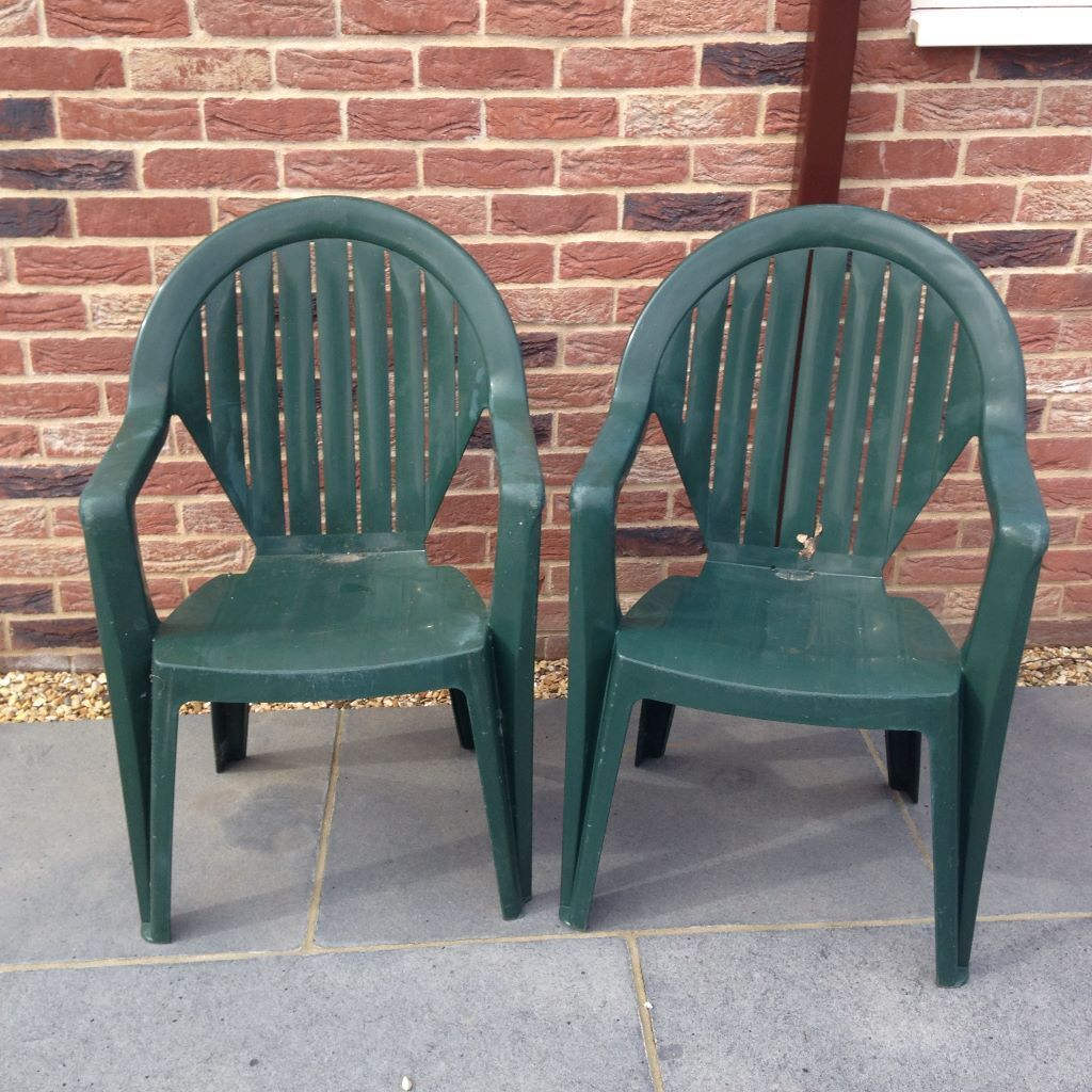 Two excellent Homebase quality green plastic stackable garden chairs  8 the  pair  Sheringham Two excellent Homebase quality green plastic stackable garden  . Green Plastic Stack Chairs. Home Design Ideas
