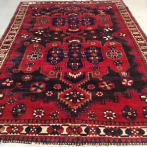 Bakhtiari Semi-Antique Persian Rug , Handmade Carpet, Wool, Red, Blue, Black, Beige and Orange Size: 10 X 6.8 ft