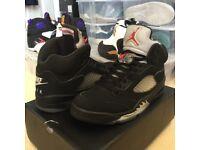 AUTHENTIC Nike Air Jordan Retro 5 Black Metallic UK 9 US 10 Sneaker Shoe Trainer