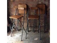 4 wooden folding bar stools