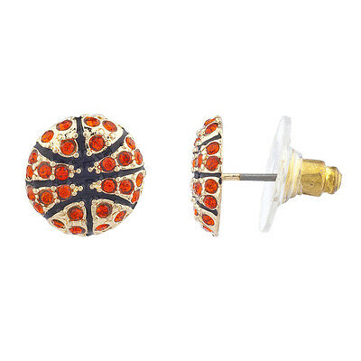 - Lux Accessories Gold Tone Red Pave Stone Blue Baseball Sports Post Earrings