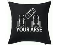 Park your ... cushion adult humour