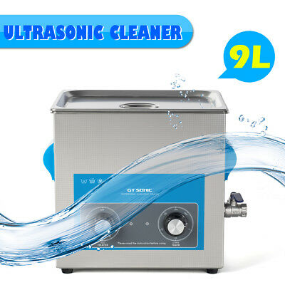 9l Ultrasonic Cleaner Heating Timer Bath Cleaning Tank Basket Stainless Steel Us