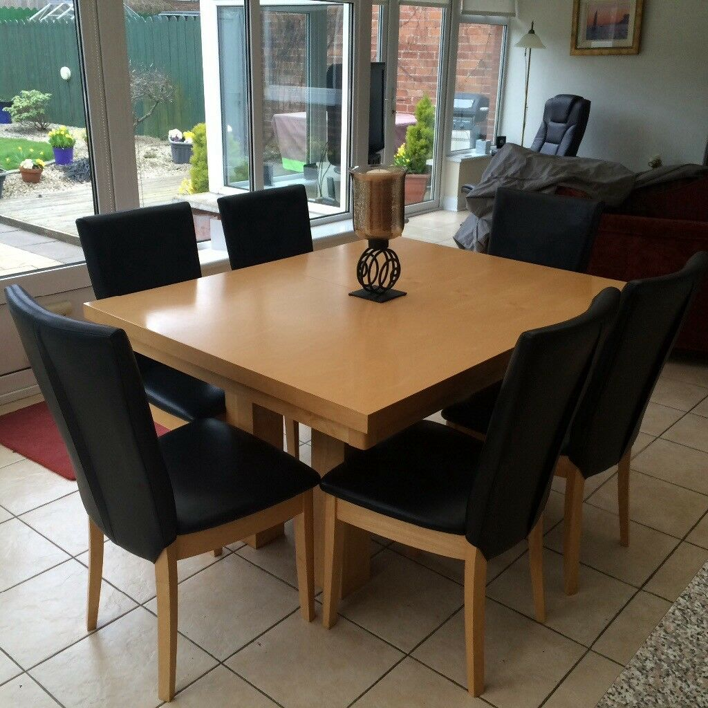 Dining Table U0026 6 Leather Chairs . Beautiful Table Seldom Used .Cost £750  Extends