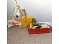 Matching Ladies Sling-Back Shoes and Bag, Size 6 , Yellow Leather w./ white piping