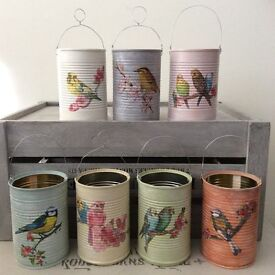 Shabby Chic Style Upcycled Bird / Budgie Tins Hanging or Store Pens, Brushes etc