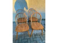 Set of 4 Blue Label Ercol Hoop Back Chairs