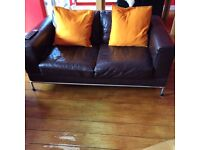 TWO GENUINE LEATHER SOFAS