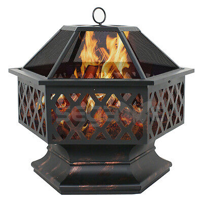 Hex Shaped Patio Fire Pit Outdoor Home Garden Backyard Firepit Bowl Fireplacer
