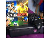 Xbox 360 plus PES 2016 game, all wires and controller