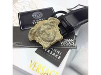 Gold medusa head crystal three d very rare men's black leather belt Versace boxed complete with tag