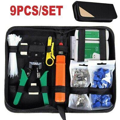 9/1 Network Repair Tool Kit Set RJ45 RJ11 CAT5 Ethernet LAN Cable Tester Crimper