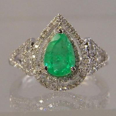 Ladies Pear Shaped Natural Emerald Ring with a Double Halo of Diamond -