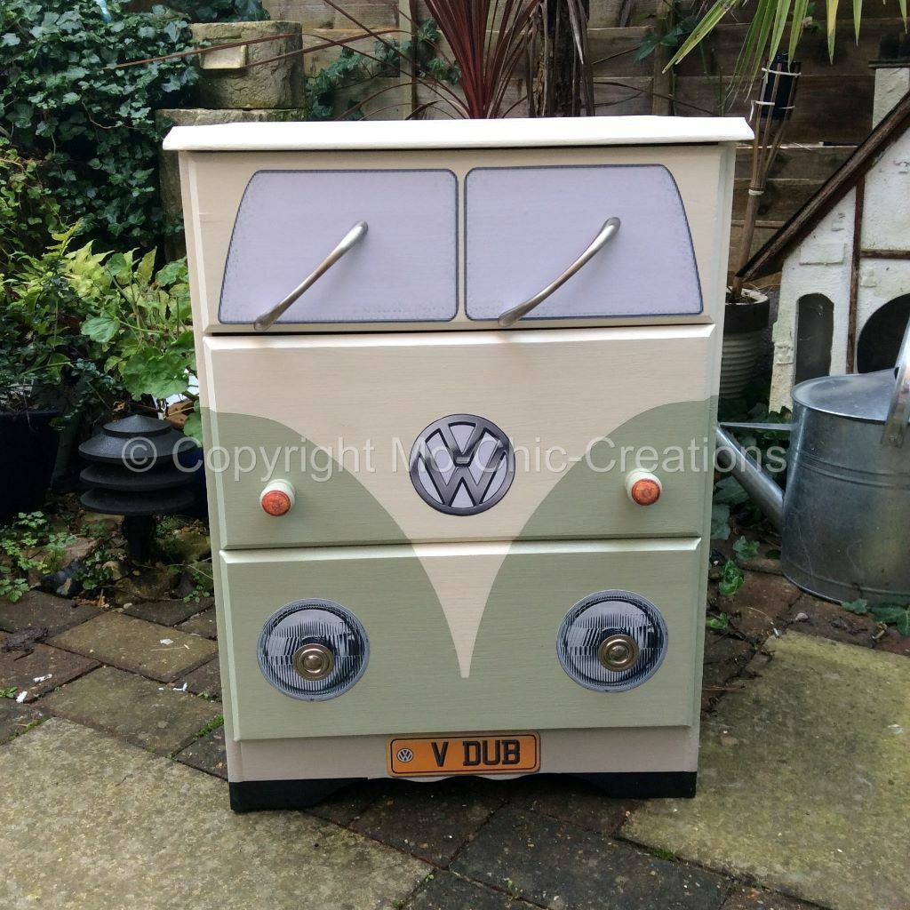 VW Camper Van Style Chest Of Drawers Pine Bedside Table