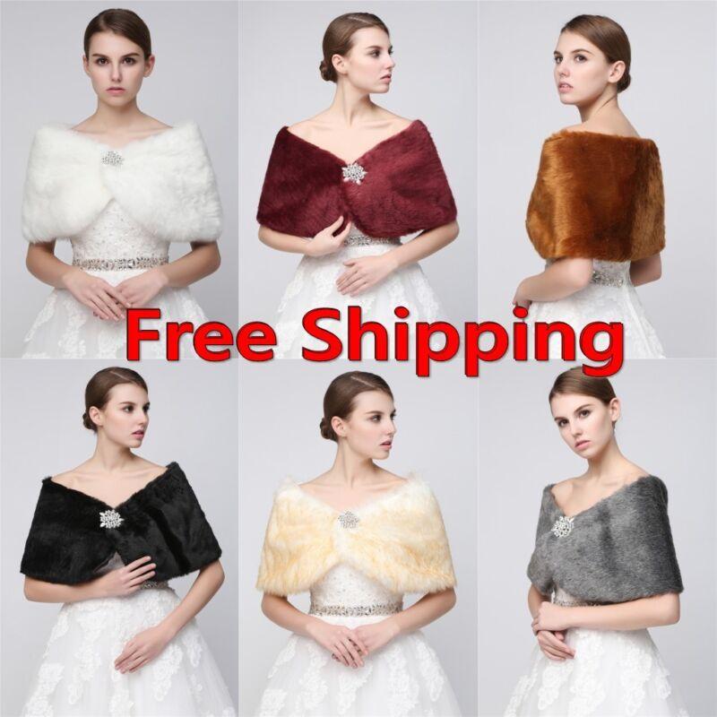 US Womens Soft Plush Faux Fur Bridal Wedding Stole Wrap Shrug Shawl Cape Scarf