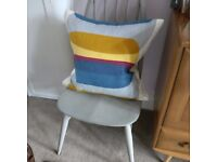 Pair of ercol Quaker chairs painted Annie Sloan French Linen grey colour