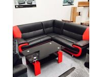 ** MODERN DESIGN LEATHER CORNER SOFAS, 3+2 SETS**ARM CHAIRS & FOOT STOOLS** IN 4 COLOURS