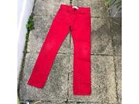 Levi's 510 red super skinny jeans 29x29
