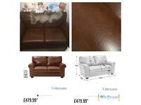 2 seater leather sofa tan colour in pristine condition