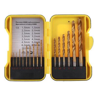15pcs Hss Twist Drill Bit Set W Index Case Number Letter 1.5mm-10mm Tool