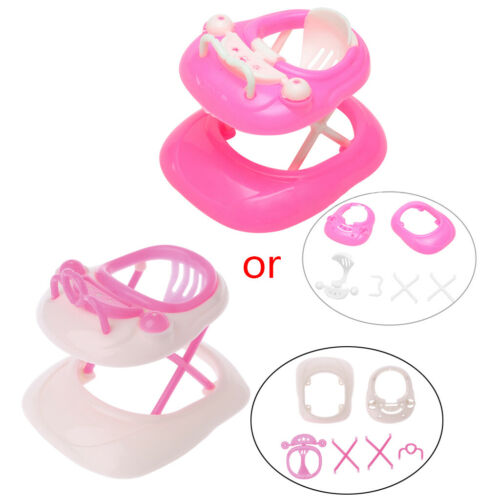 DIY Pink Plastic Walker for Barbie New Doll's House Miniature Accessories