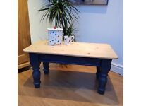 Pine Coffee Table with painted legs shabby chic industrial look