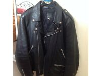 Black leather biker jacket excellent condition