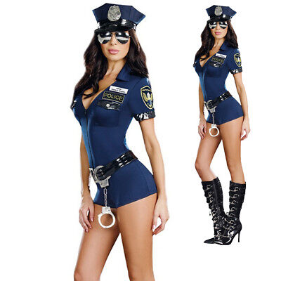 Ladies Police Cop Halloween Costume Fancy Dress Sexy Outfit Woman Officer L SIZE - Woman Police Officer Halloween Costume
