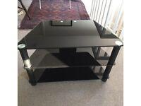 Demagio black glass TV stand