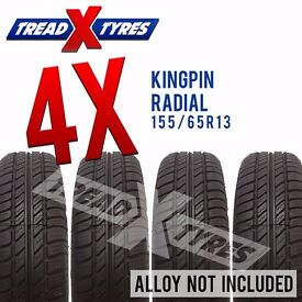 4 x New 155/65R13 Kingpin Radial Tyre - 155 65 13 - Fitting Available