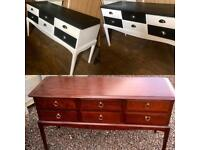 Upcycled stag minstrel 6 drawer dressing table/sideboard/chest of drawers