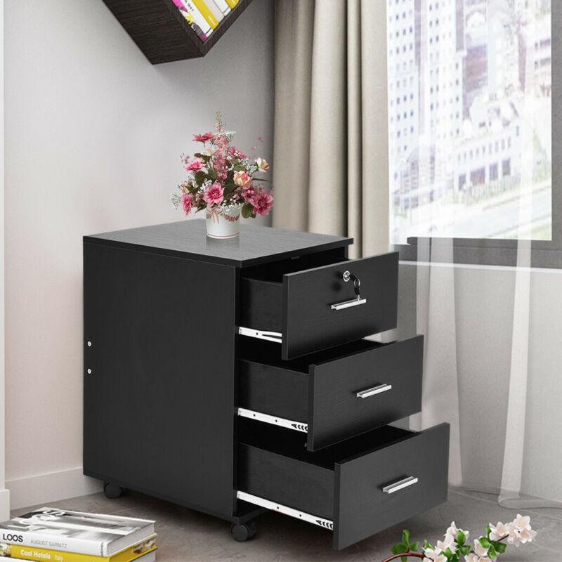 3 Drawer Locking File Cabinet Vertical Lockable Filing Organ