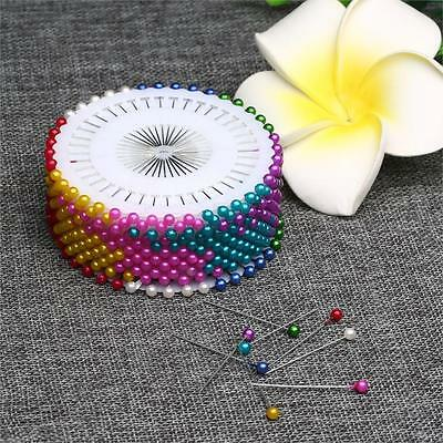 120pcs Colorful Pearl Round Corsage Pins Dress Making Floral Heads Craft Box (Floral Pins)