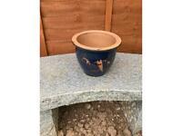 Outdoor garden blue pot